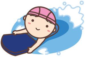 ビート版で泳ぐ子ども