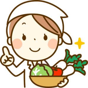 白衣で野菜を持っている人